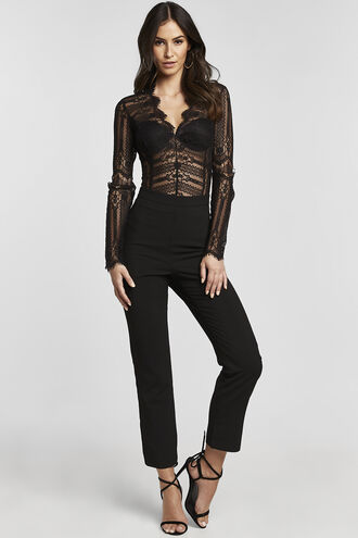 ANNIKA LACE BODYSUIT in colour CAVIAR
