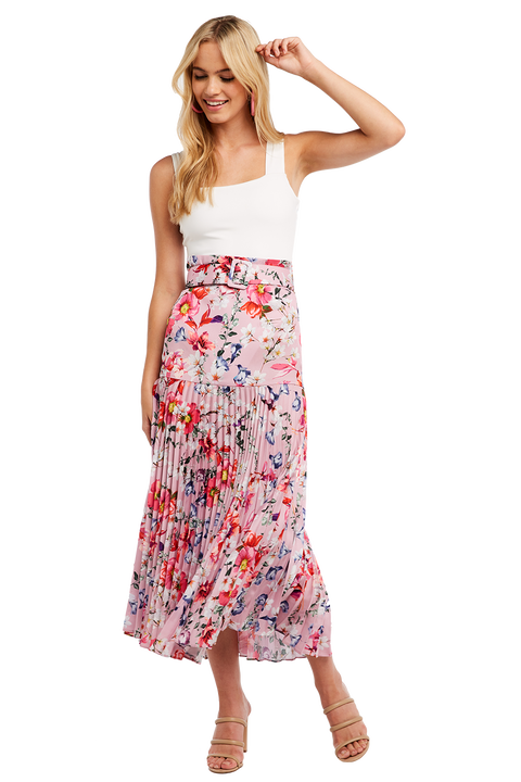 BUCKLE PLEATED SKIRT in colour PRISM PINK