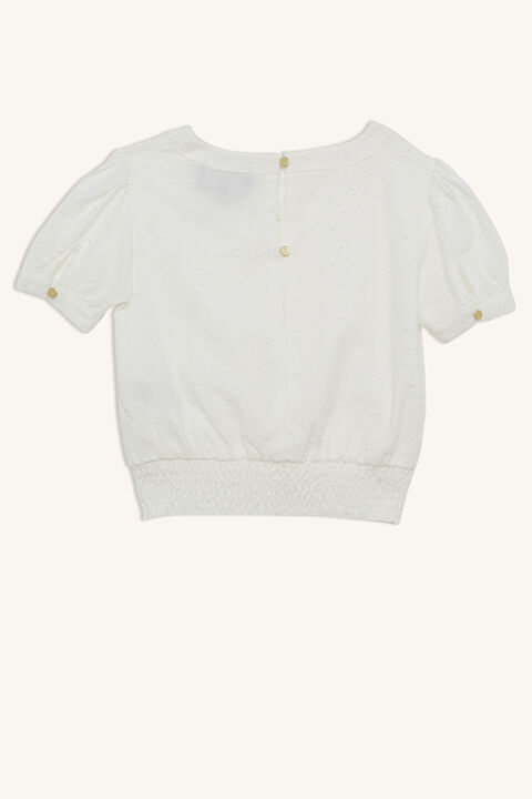 JUNIOR GIRL eryn short sleeve blouse in colour CLOUD DANCER