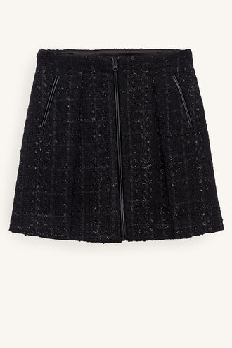 JET BOUCLE BIKER SKIRT in colour JET BLACK