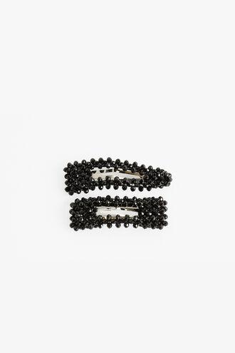 BLACK CRYSTAL CLIP SET in colour CAVIAR
