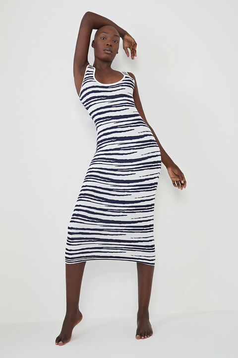 ZEBRA KNIT DRESS in colour CAVIAR