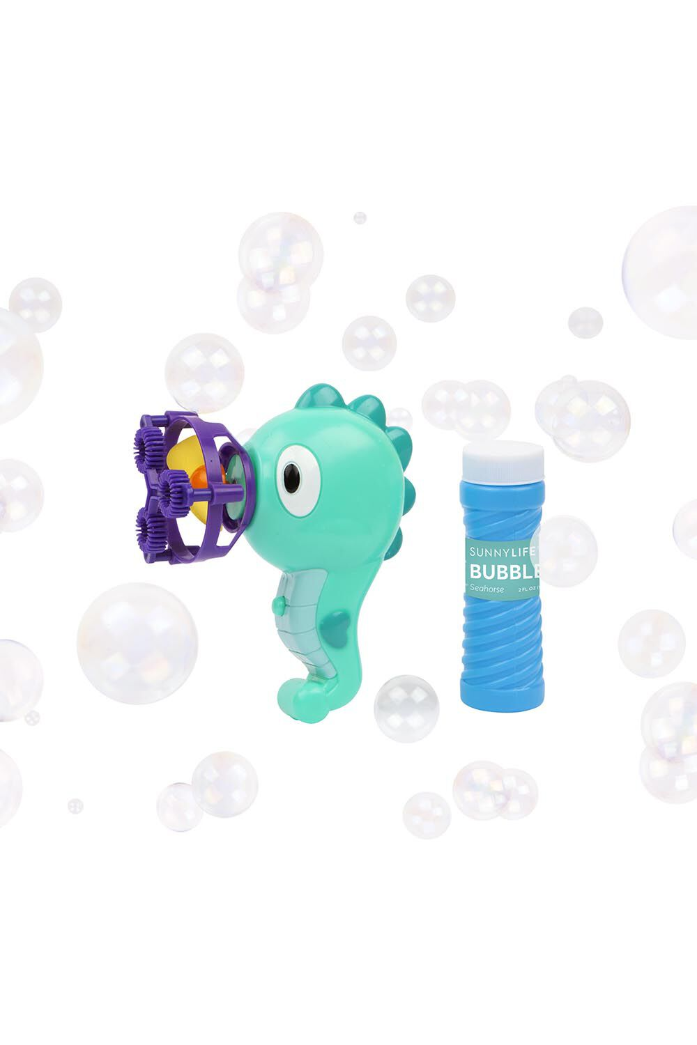 SMALL ANIMAL BUBBLES - SEAHORSE in colour BALLAD BLUE