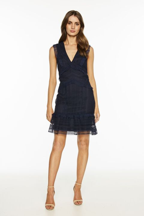 KRISTEN LACE DRESS in colour MARITIME BLUE