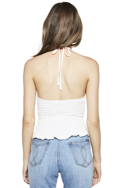 SHIRRED HALTER TOP in colour CLOUD DANCER