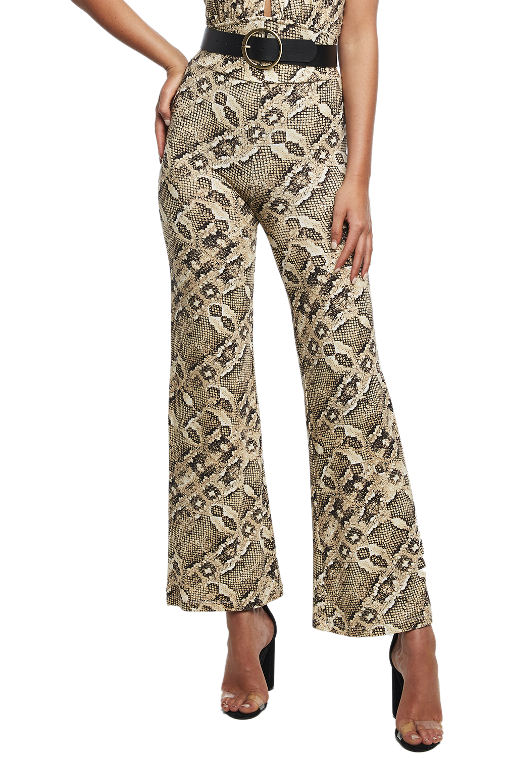 SNAKE KNIT PANT in colour EGRET