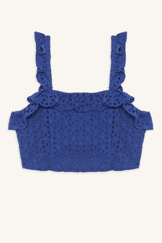 ELKE RUFFLE TOP in colour CLASSIC BLUE