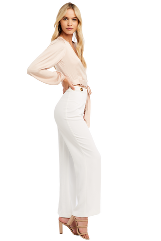 ELENA TIE BLOUSE in colour CREAM TAN