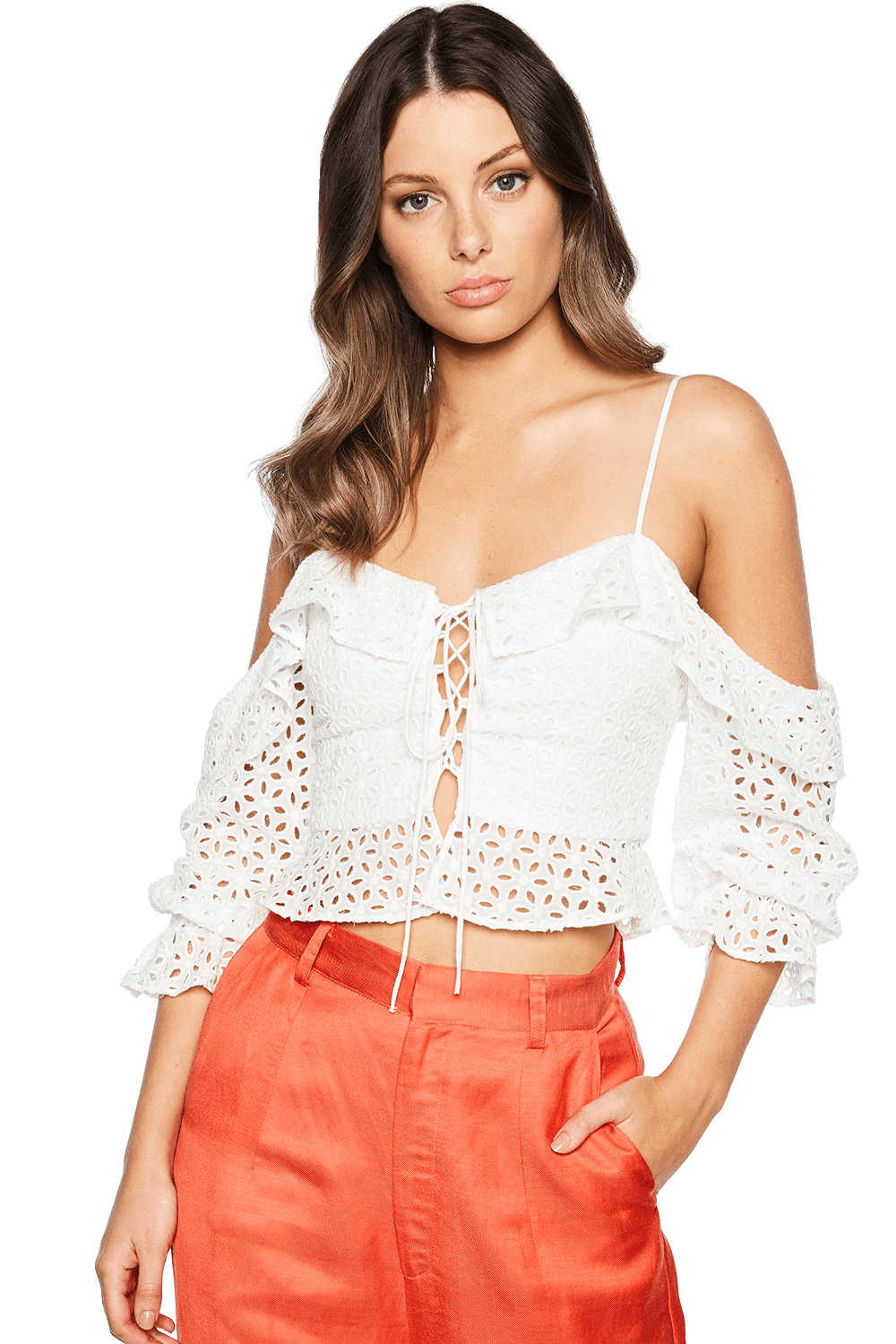 BRODERIE TIE TOP in colour CLOUD DANCER