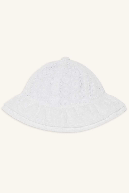 BRODERIE BABY BONNET in colour WHITE ALYSSUM