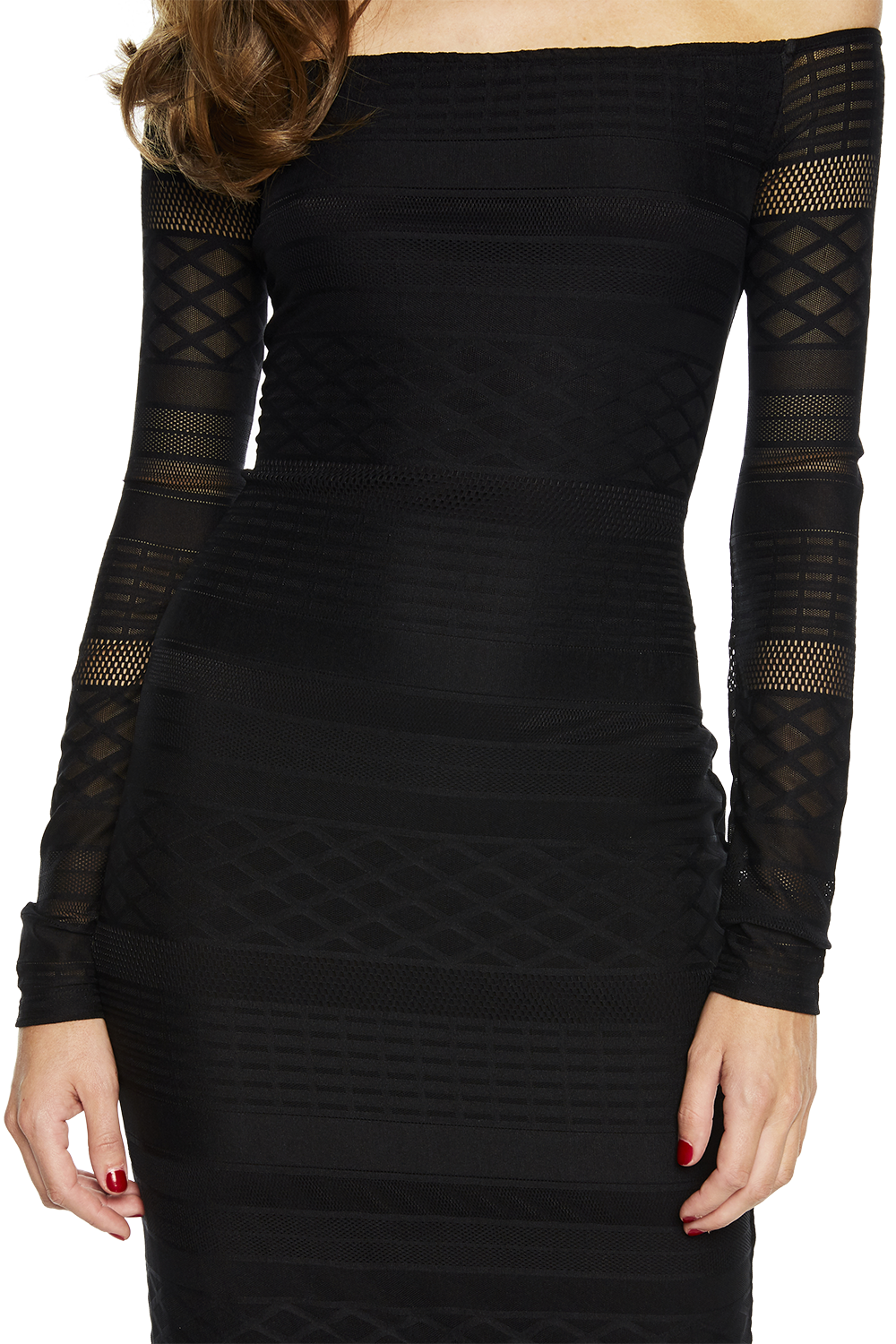 CHEVRON LACE DRESS in colour CAVIAR