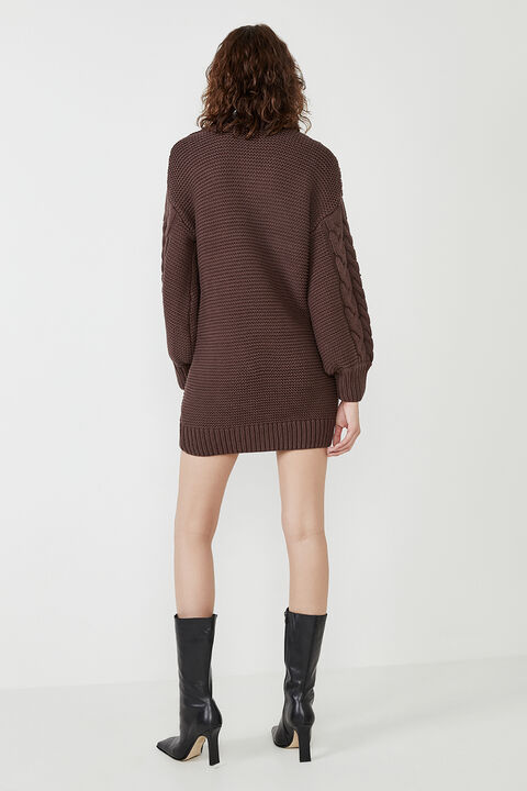 BELL KNIT DRESS in colour CHOCOLATE BROWN