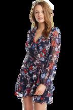 FRILL FLORAL DRESS in colour AMPARO BLUE