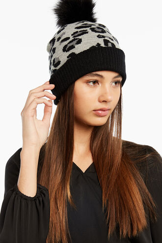 LEOPARD BEANIE in colour GRAY MIST