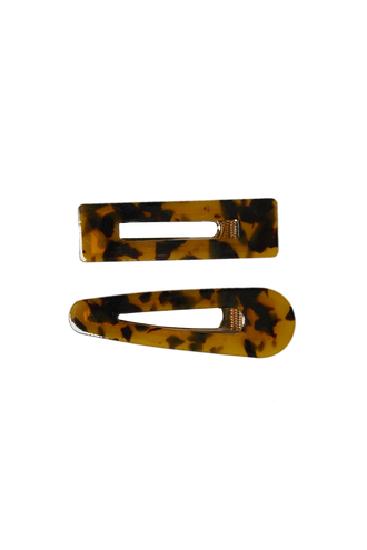 TORTOISE CLIP SET in colour TORTOISE SHELL