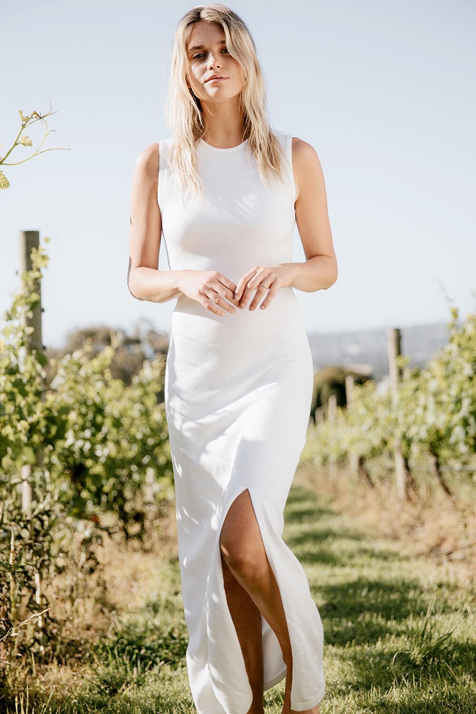 SARA KNIT MAXI DRESS in colour CLOUD DANCER