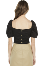 BUTTON BACK TOP in colour CAVIAR
