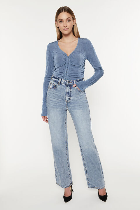 DEMI ROUCHED TOP in colour BLUEBIRD
