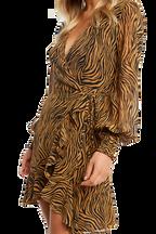 ZEBRA WRAP DRESS in colour TAPIOCA