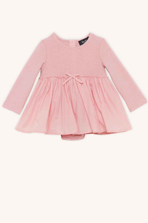 POPPY RIB DRESS GROW in colour BRIDAL ROSE