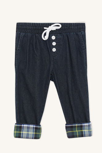 TARTAN PULL ON PANT in colour ASHLEY BLUE