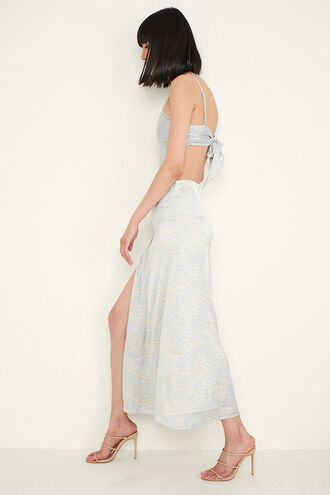 BUTTON UP SKIRT in colour WAN BLUE
