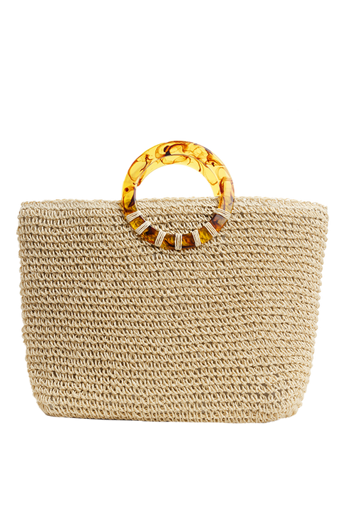 RESIN HANDLE TOTE in colour YELLOW CREAM