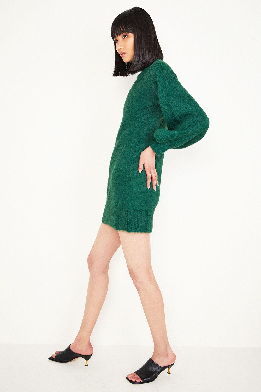 BELL SLEEVE KNIT DRESS in colour DARK GREEN