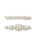 FANCY PEARL CLIP SET in colour WHITE SAND