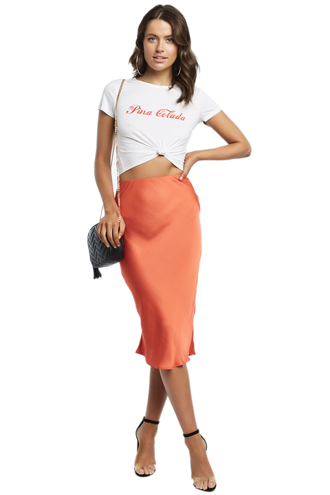 MAYAH MIDI SKIRT in colour MANDARIN RED