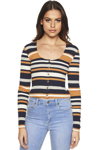 MADELINE STRIPE TOP in colour CAVIAR