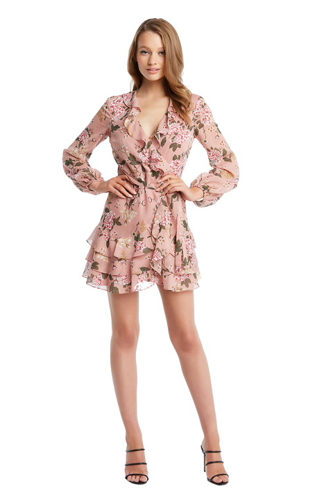 FRILL FLORAL DRESS in colour EVENING SAND