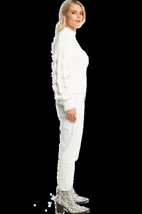 BOBBLE KNIT JUMPER in colour BRIGHT WHITE