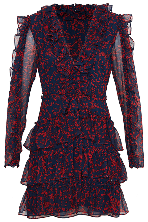 ALESSIA FRILL DRESS in colour DARK NAVY
