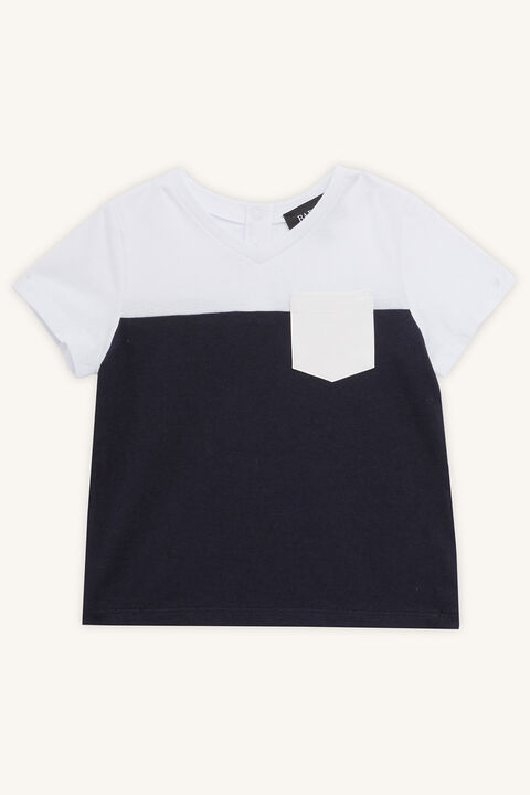 SPLICED PU TEE in colour BLACK IRIS