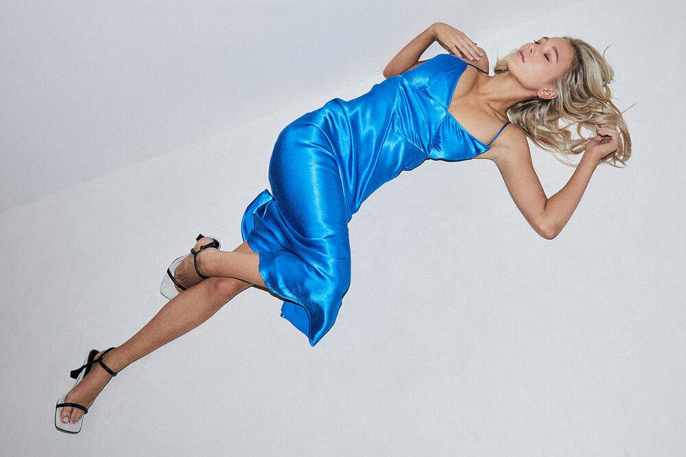 NOVA MIDI SLIP DRESS in colour ELECTRIC BLUE