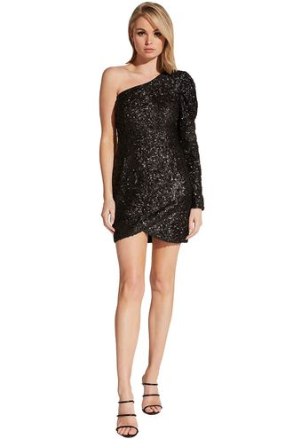 ABIGAIL SEQUIN DRESS in colour CAVIAR