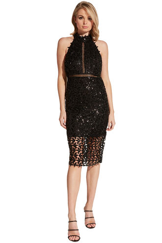 SEQUIN LEAF DRESS in colour CAVIAR