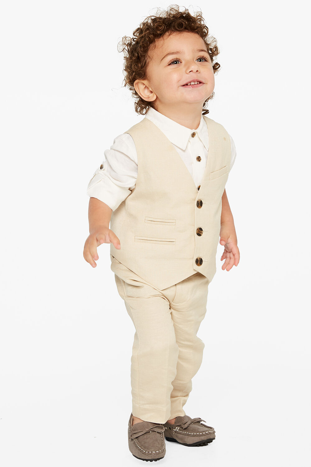 BABY BOY miles linen vest in colour MOONLIGHT