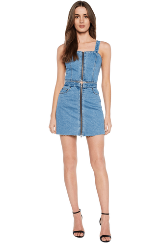 DENIM ZIP FRONT DRESS in colour CITADEL
