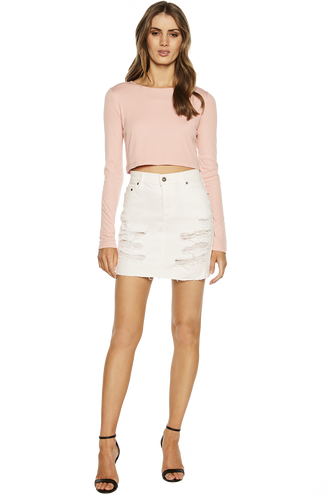 TRASHED DENIM SKIRT in colour BRIGHT WHITE