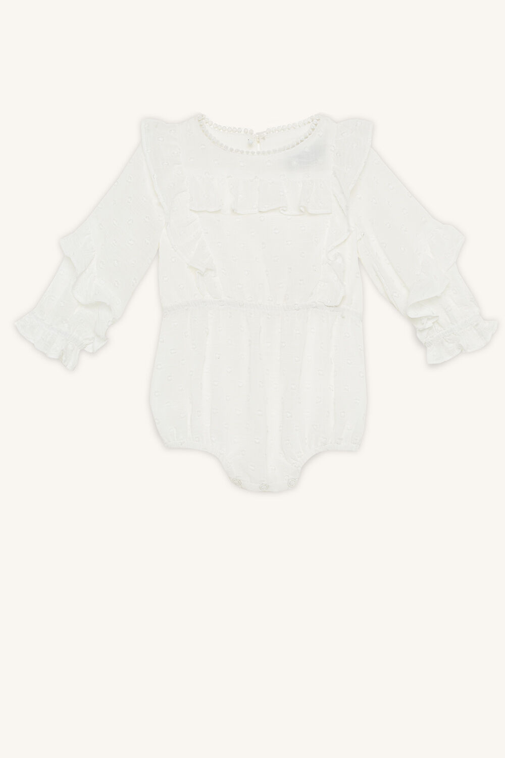 BABY GIRL ABBIE RUFFLE GROW in colour CLOUD DANCER