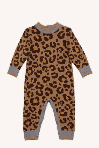 LEOPARD KNIT GROW in colour BEIGE