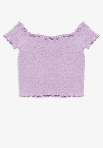 LOTTIE SHIRRED TOP in colour ORCHID BLOOM