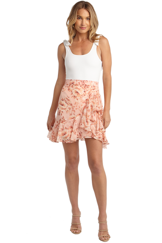FLORAL FLUTTER SKIRT in colour PEACH MELBA