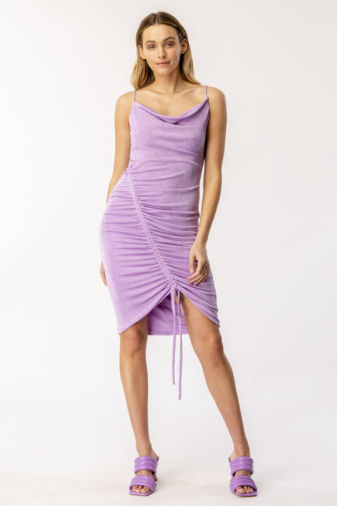 KINSLEY RUCHED SLIP DRESS in colour LILAC CHIFFON