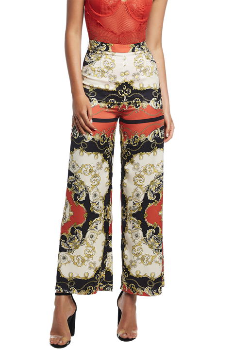 SCARF PRINT PANT in colour CLOUD DANCER