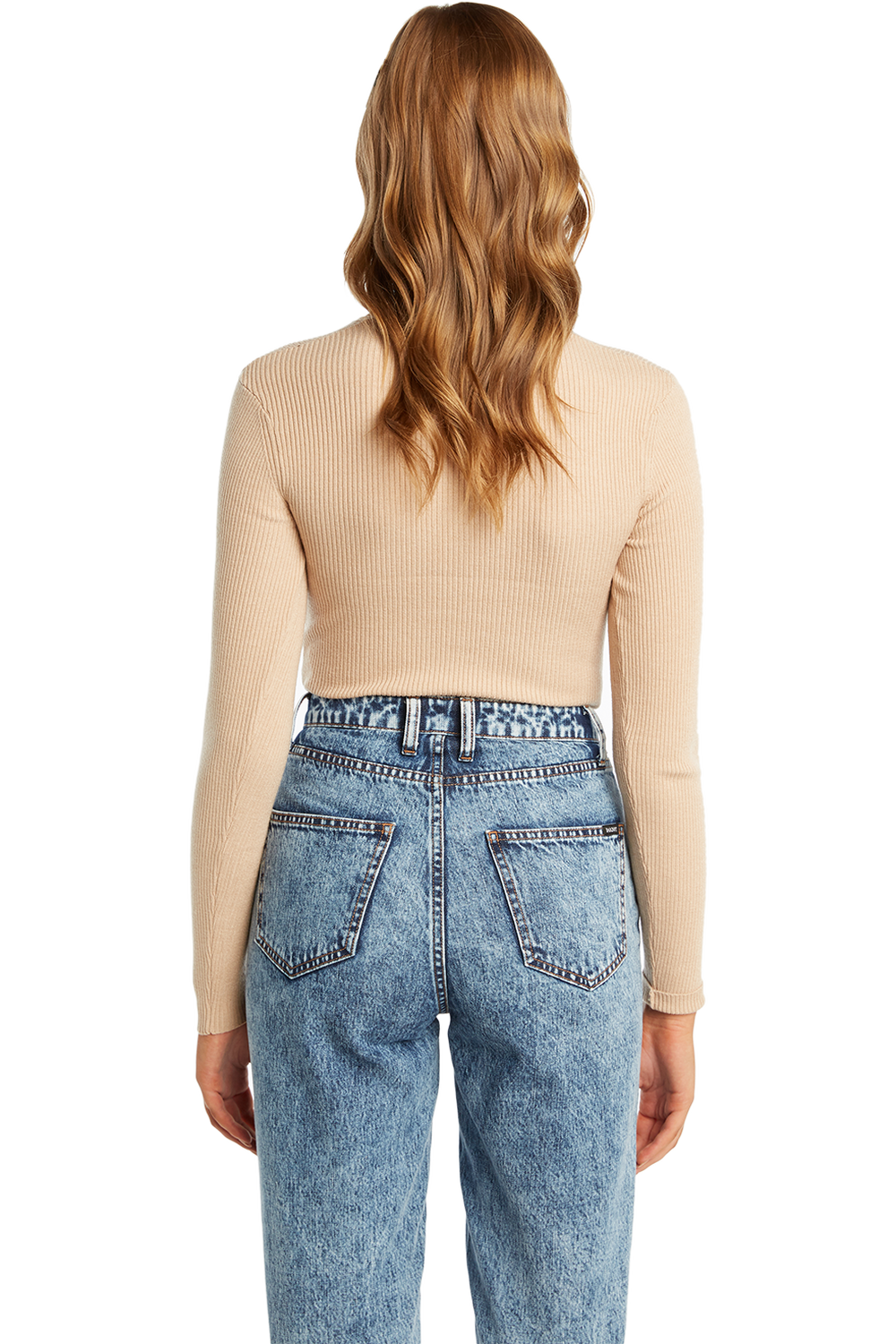 BUTTON UP RIB BODYSUIT in colour MOONLIGHT