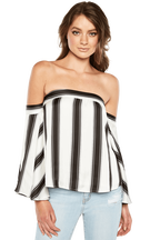 EVIE STRIPE TOP in colour CLOUD DANCER