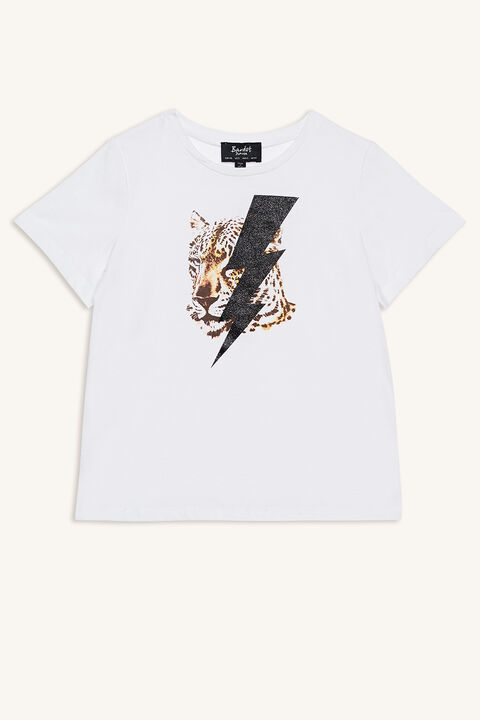 LEOPARD POWER TEE in colour BRIGHT WHITE